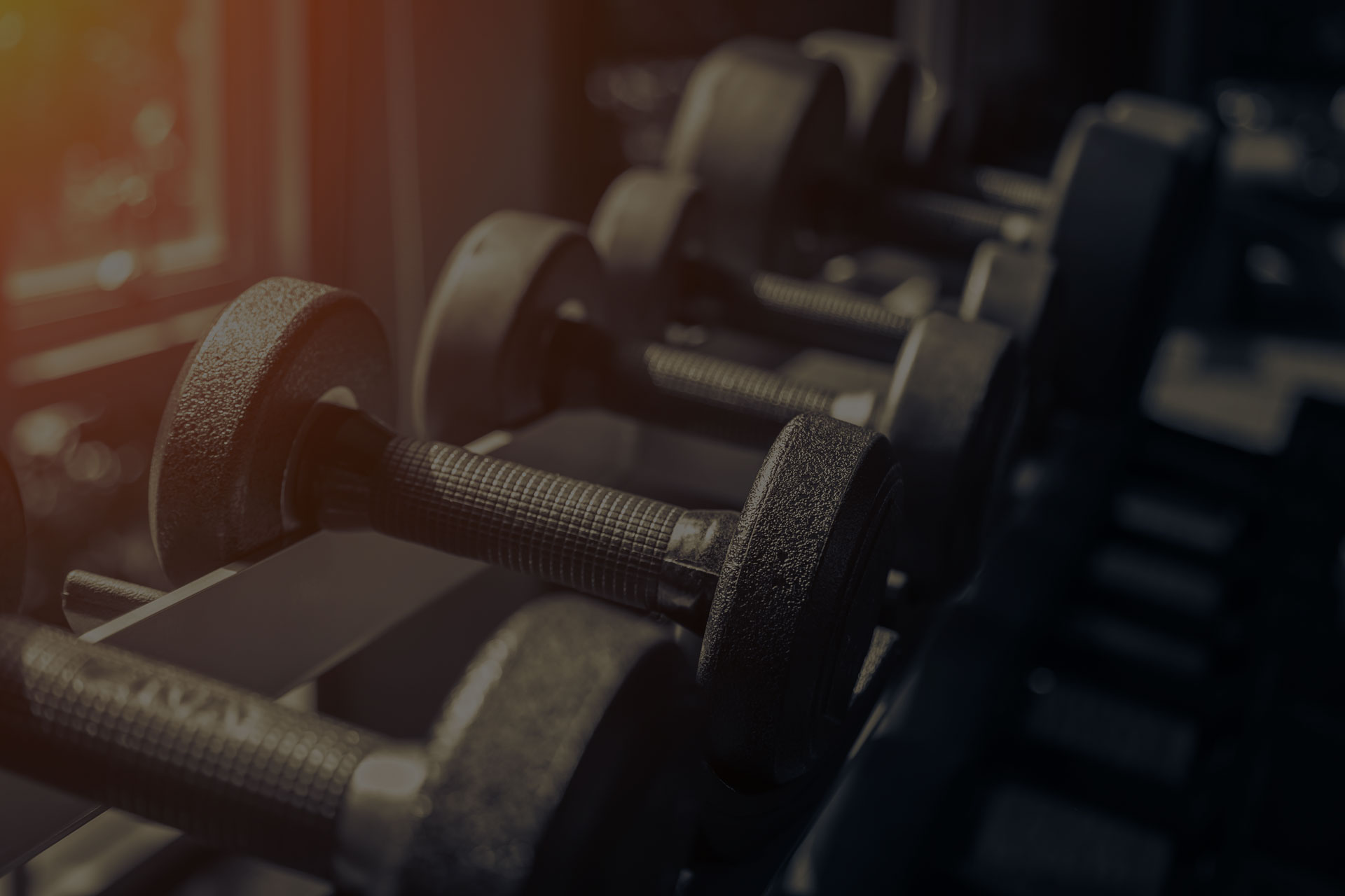 Rows of dumbbells in the gym with hign contrast and monochrome color tone - Image